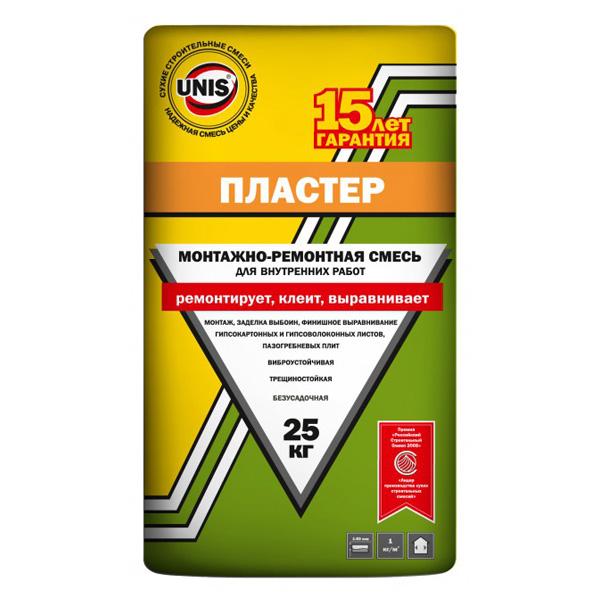 Гипсовая монтажно-ремонтная смесь Юнис Пластер